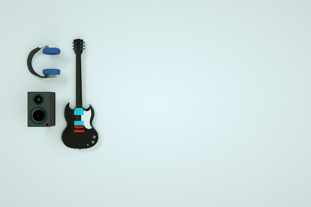 Modelos isométricos de fones de ouvido e alto-falantes de guitarra. instrumentos musicais, um conjunto de instrumentos musicais. guitarra elétrica em um fundo branco. gráficos 3d, modelos tridimensionais. fundo branco