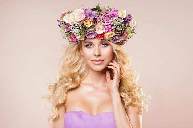 Modelos moda grinalda flores retrato beleza
