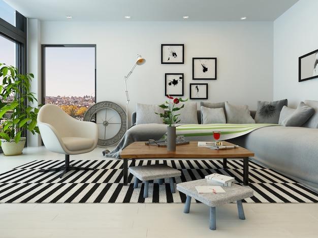 Modern living room interior com mobiliário branco