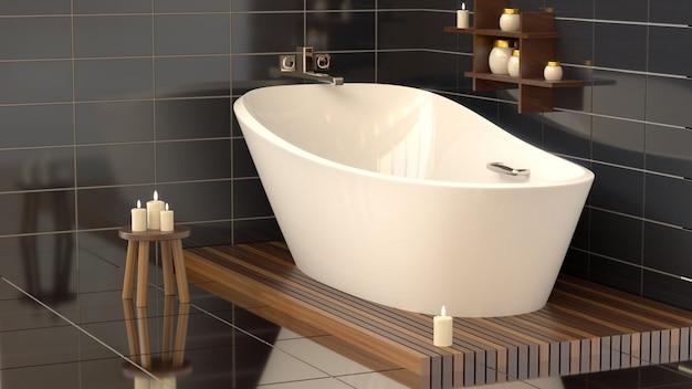 Moderna casa de banho com banheira de cerâmica com velas.