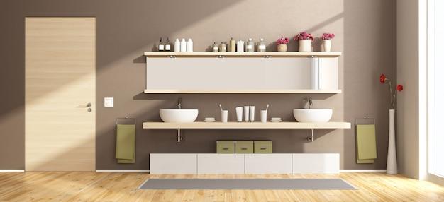 Moderna casa de banho com lavatórios na prateleira de madeira