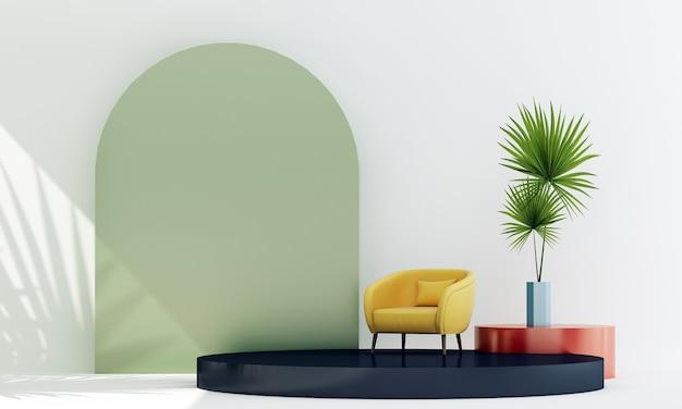 Moderna e aconchegante sala de estar com cadeiras amarelas e planta no pódio de exibição no fundo branco