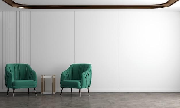 Moderna e aconchegante sala de estar com sofá verde e parede vazia com textura de fundo design de interiores