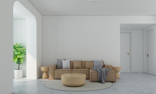 Moderna e aconchegante sala de estar e parede branca com textura de fundo design de interiores