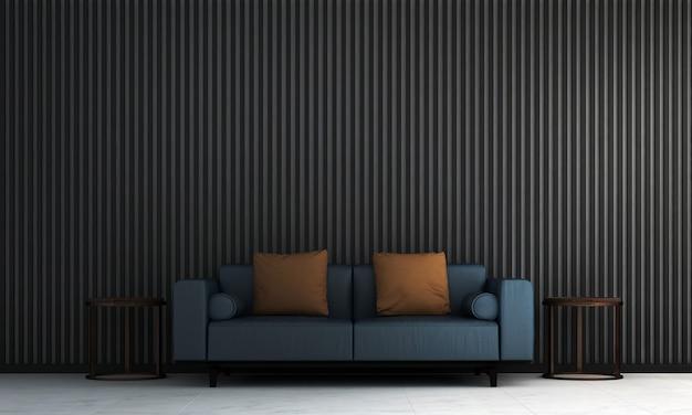 Moderna e aconchegante sala de estar e textura de parede com padrão preto design de interiores