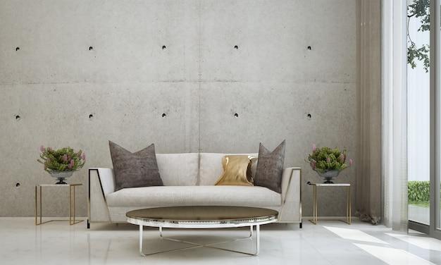 Moderna e aconchegante sala de estar e textura de parede de concreto vazia design de interiores