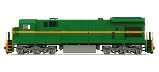 Moderna locomotiva a diesel verde com grande potência e força para mover trens longos e pesados