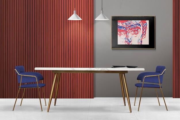 Moderna luxuosa sala de jantar autêntica com moldura