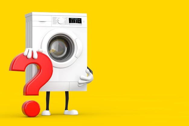 Moderna máquina de lavar roupa branca personagem personagem mascote com sinal de ponto de interrogação vermelho sobre um fundo amarelo. renderização 3d