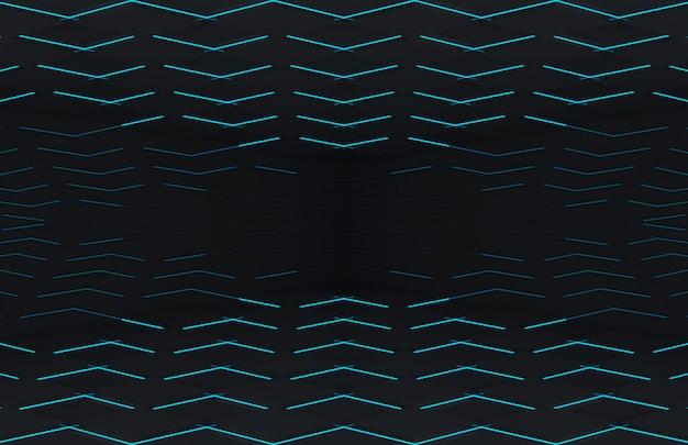 Moderna placa de grade quadrada preta futurista com parede de luz azul