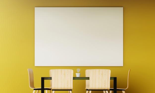 Moderna sala de estar amarela com sofá e móveis e grupo de moldura na parede. 3d rendem.