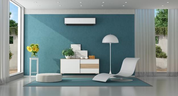 Moderna sala de estar azul de uma villa moderna