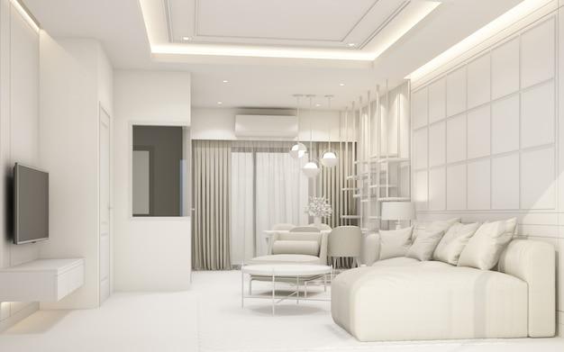 Moderna sala de estar branca com móveis em renderização 3d de moradia