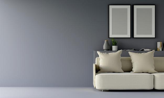 Moderna sala de estar cinza com sofá e móveis e grupo de moldura na parede. 3d rendem.