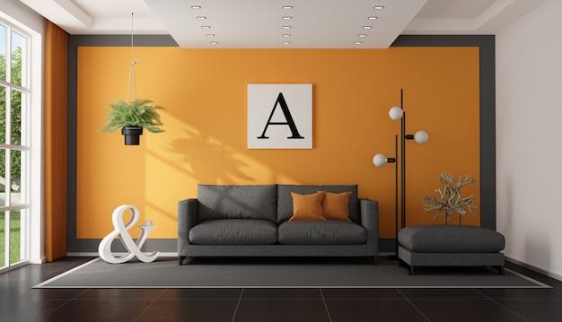 Moderna sala de estar cinza e laranja