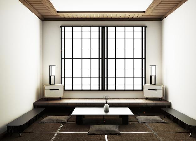 Moderna sala de estar com decoração de estar, tatami tapete e japonês tradicional