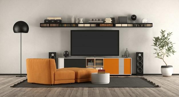 Moderna sala de estar com equipamento de cinema em casa