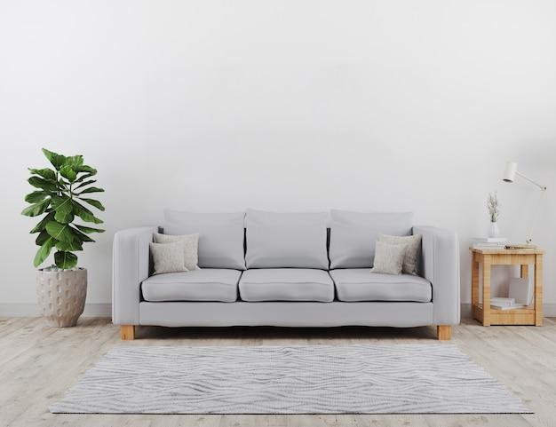 Moderna sala de estar com maquete do sofá cinza. estilo escandinavo, interior acolhedor e elegante. renderização em 3d