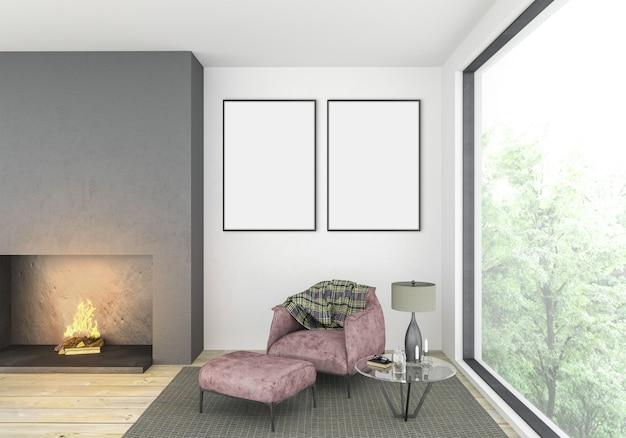 Moderna sala de estar com molduras duplas vazias
