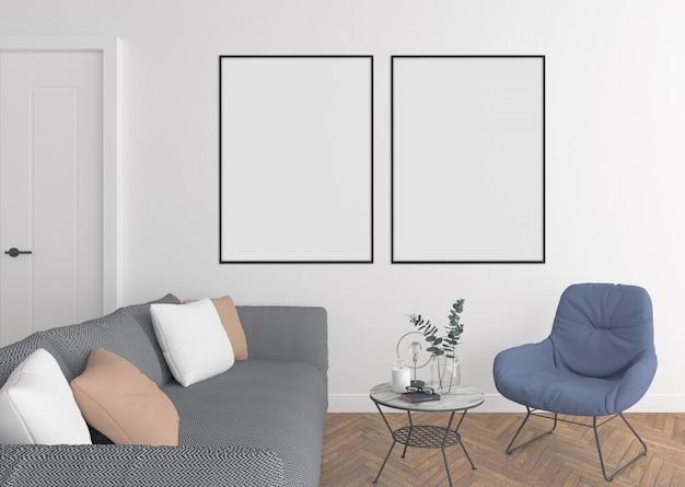 Moderna sala de estar com molduras duplas