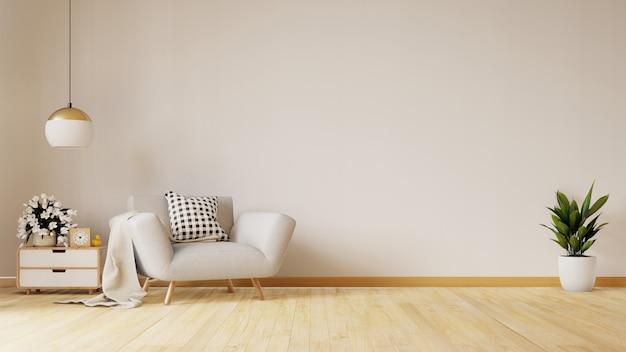Moderna sala de estar com poltrona azul tem armário e prateleiras de madeira no piso de madeira e parede branca, renderização em 3d