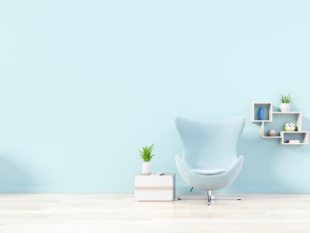 Moderna sala de estar com poltrona azul tem armário e prateleiras de madeira no piso de madeira
