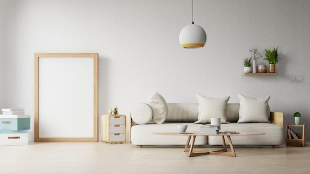 Moderna sala de estar com sofá branco tem armário e prateleiras de madeira no piso de madeira e parede branca