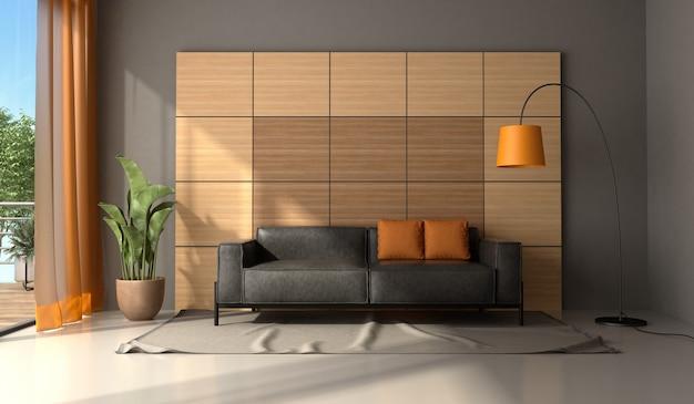 Moderna sala de estar com sofá de couro preto