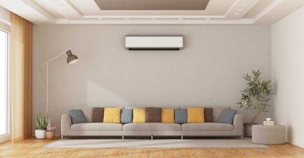 Moderna sala de estar com sofá e ar condicionado
