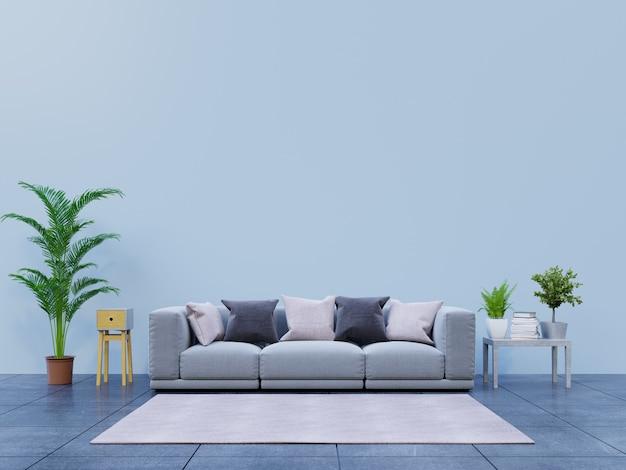 Moderna sala de estar com sofá e decoração tem de volta parede escura