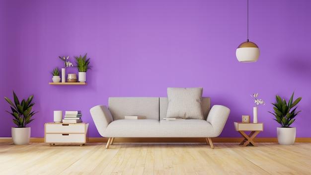 Moderna sala de estar com sofá e decoração tem parede violeta, renderização em 3d