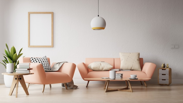 Moderna sala de estar com um pôster vazio na parede