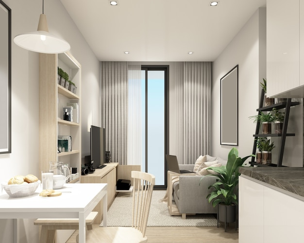 Moderna sala de estar em condomínio com renderização 3d interior de estilo contemporâneo moderno