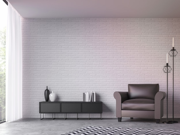 Moderna sala de estar tipo loft com vista da natureza 3d render. mobiliada com poltrona de couro marrom escuro