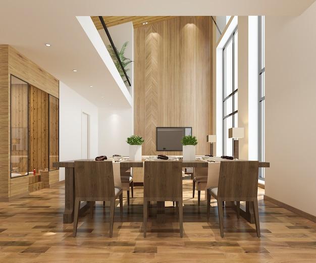 Moderna sala de jantar e sala de estar com decoração de luxo