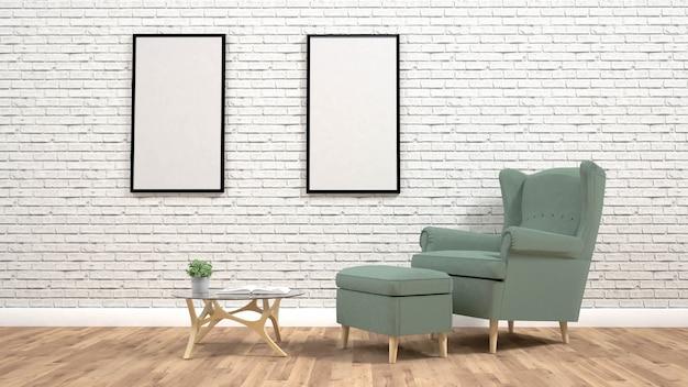 Moderna sala interior com renderização de armchair.3d