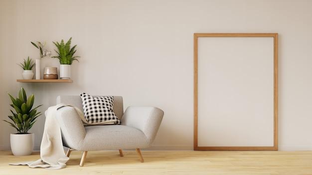 Moderna sala interior com sofá e plantas verdes, lâmpada, mesa na sala de estar