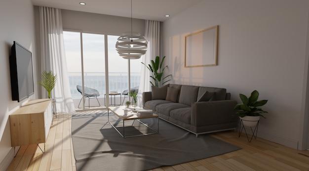 Moderna sala interior com sofá e plantas verdes