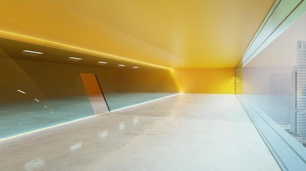 Moderna vista interna de luminárias de led laranja circulam na fachada de parede de vidro com janelas panorâmicas e vista da cidade