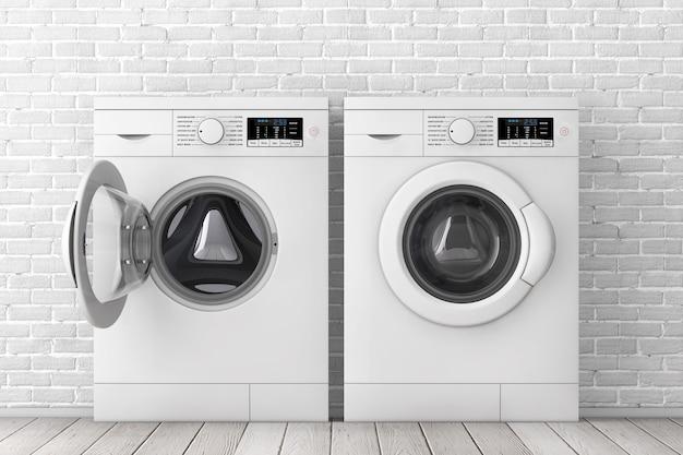 Modernas máquinas de lavar roupa branca na frente de closeup extrema de parede de tijolo branco. renderização 3d