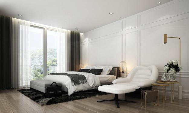 Moderno design de interiores de quarto e decoração de móveis simula o quarto e o fundo de textura de parede branca