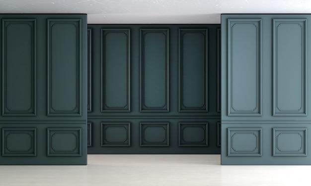 Moderno design de interiores de sala de estar vazia e fundo de parede com padrão azul