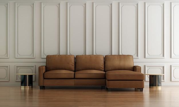 Moderno e luxuoso design de interiores de sala de estar, sofá de couro e fundo branco de parede