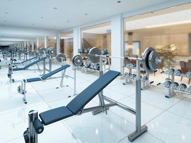 Moderno ginásio de fitness interior no complexo de spa. 3d render.