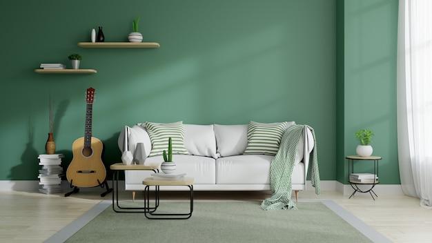 Moderno meados do século e interior minimalista da sala de estar