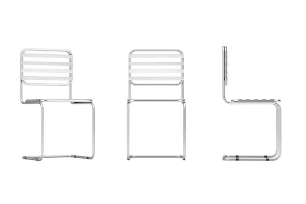 Moderno metal chair com pranchas de madeira em um fundo branco. renderização 3d