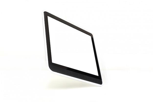 Moderno preto tablet pc isolado no branco com traçado de recorte