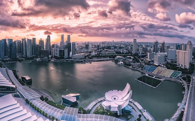 Modernos, edifícios, de, paisagem skyline cingapura, em, distrito negócio