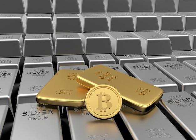 Moeda bitcoin com barras de ouro em fileiras de barras de prata. 3d