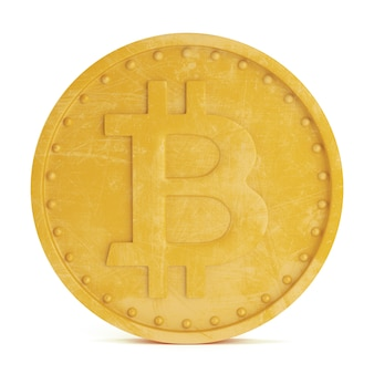 Moeda bitcoin isolada no fundo branco